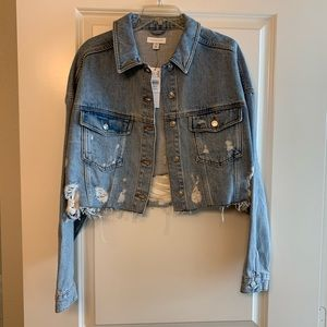 Topshop cropped ripped jean jacket